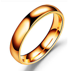 Men's Band Ring - Stainless Steel Classic 6 / 7 / 8 / 9 Black / Silver / Ros..