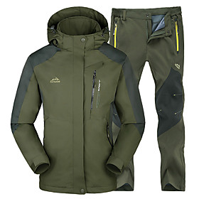 Kaisike Men's Hiking Jacket with Pants Outdoor Winter Waterproof Thermal / Warm Windproof Insulated Comfortable Jacket Clothing Suits 5458265