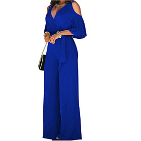 Women's Wide Leg Cut Out Party Off Shoulder Black Wine Royal Blue Wide Leg Jumpsuit, Solid Colored Cut Out L XL XXL Cotton Long Sleeve Spring