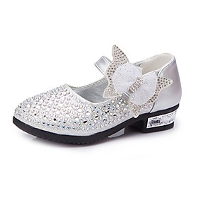 Girls' Shoes Leatherette Spring / Fall Comfort / Flower Girl Shoes Heels Rhinestone / Bowknot / Sparkling Glitter for Silver / Blue / Pink
