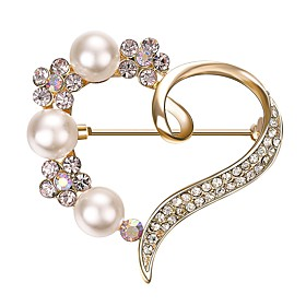 Women's AAA Cubic Zirconia Brooches - Gold Plated Heart Bohemian, Elegant Br..