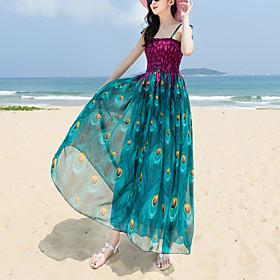 Women's Boho Loose Loose / Swing Dress - Animal Print Maxi Strapless 6574750