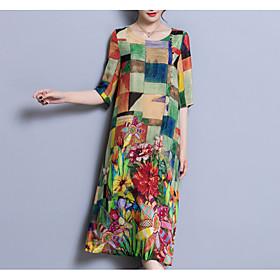 Women's Plus Size Chinoiserie Loose Dress - Color Block Patchwork U Neck / Summer 6592951