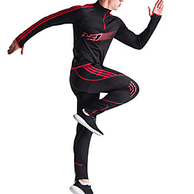 Men's Elastic Waistband Tracksuit Red Green Blue Sports Stripes Zip Top Track Pants Clothing Suit Football / Soccer Running Training Long Sleeve Plus Size Acti