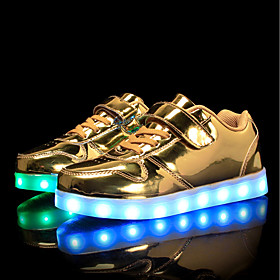 Boys' / Girls' Shoes PU Spring / Fall Comfort / Light Up Shoes Sneakers Walking Shoes Lace-up / Hook  Loop / LED for Silver / Blue / Pink