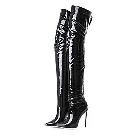 Women's Fashion Boots Patent Leather Spring / Fall  Winter Classic Boots Stiletto Heel Pointed Toe Thigh-high Boots Black / Party  Evening