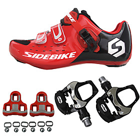 SIDEBIKE Cycling Shoes With Pedals  Cleats Road Bike Shoes Nylon Carbon Fiber Breathable Cushioning Ultra Light (UL) Cycling Red / black Men's Cycling Shoes /