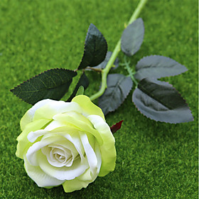 2 Branch Polyester Plastic Roses Tabletop Flower Artificial Flowers Home Decoration Wedding Flowers