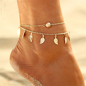 Layered Tassel Anklet - Leaf Bohemian, Bikini, Boho Gold / Silver For Gift Evening Party Women's