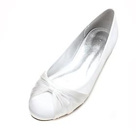 Women's Shoes Satin Spring / Summer Comfort / Ballerina Wedding Shoes Flat Heel Round Toe Satin Flower / Ribbon Tie Dark Blue / Silver /