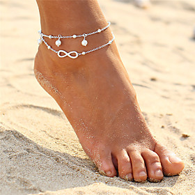 Women's Layered Anklet Pearl Infinity Ladies Double