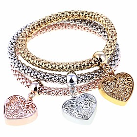 Women's Charm Bracelet Bracelet Bangles Strand Bracelet - Heart Fashion Bracelet Rainbow For Party Gift / 3pcs