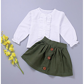 Toddler Girls' Solid Colored Long Sleeve Cotton Clothing Set Army Green Season:Spring; Fabric:Cotton; Sleeve Length:Long Sleeve; Gender:Girls'; Note:Wash it before you wear; Kids Apparel:Clothing Set; Age Group:Toddler; Pattern:Solid Colored; Front page:FF; Listing Date:04/02/2018; Bust:; Length [Bottom]:; Length [Top]:; Waist:; Base Categories:Kids' Clothing Sets,Kids' Clothing,Clothing,Apparel  Accessories; Special selected products:COD