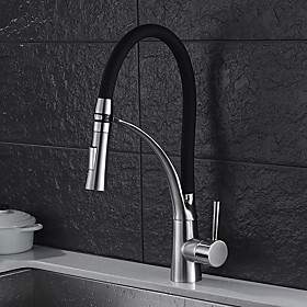 Kitchen faucet Contemporary / Standing Style Nickel Brushed Pull out / Pull down Vessel / Brass / Single Handle One Hole