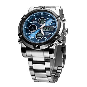 Asj Men's Dress Watch Japanese Alarm / Calendar / Date / Day / Chronograph Stainless Steel Band Luxury / Fashion Silver / Water Resistant / Water Proof / Nocti