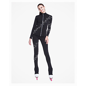 Figure Skating Jacket with Pants Women's / Boys' / Girls' Ice Skating Pants / Trousers / Top Black Spandex Stretchy Training / Competition Skating Wear Sequin