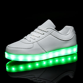 Women's Shoes PU Spring Fall Comfort Sneakers Flat Heel Round Toe Lace-up LED For Casual White Black