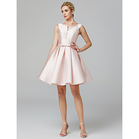 Ball Gown Scoop Neck Short / Mini Satin Cocktail Party / Homecoming Dress with Sash / Ribbon by TS Couture