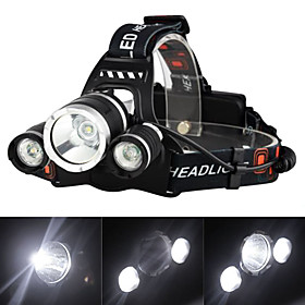 Headlamps Headlight LED Cree XM-L T6 3 Emitters 3000 lm 4 Mode with Charger Rechargeable Strike Bezel Camping / Hiking / Caving Traveling
