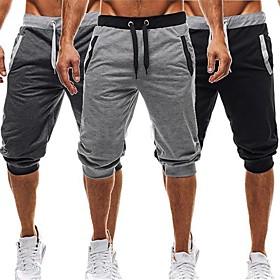 Men's Harem Running Shorts Black Dark Gray Light gray Sports Cotton Baggy Shorts Fitness Gym Workout Exercise Activewear Lightweight Breathability Micro-elasti