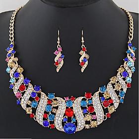 Women's Bib Jewelry Set - Statement, Bohemian, Boho Include Drop Earrings Bib necklace Rainbow / Red / Blue For Ceremony Carnival