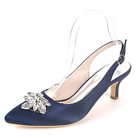 Women's Shoes Satin Spring  Summer Basic Pump Wedding Shoes Kitten Heel Pointed Toe Rhinestone Royal Blue / Champagne / Ivory