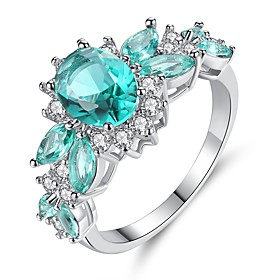 Women's Cubic Zirconia Cluster Engagement Ring - Sterling Silver Statement, ..