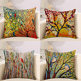 Pack of 4, Botanical Animal Oil Painting Artistic Pastoral Style Cotton Linen Decorative Square Throw Pillow Covers Set Cushion Case for Sofa Bedroom Car