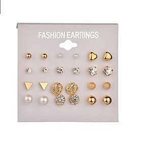 Women's Pearl Geometrical Stud Earrings Hoop Earrings Imitation Pearl Earrings Ladies Simple Basic Jewelry Gold / Silver For Daily Evening Party 12 Pairs / 24p