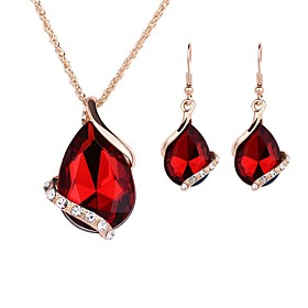 Women's Jewelry Set - Gold Plated Simple, Lovely, Fashion Include Choker Necklace Pendant Necklace Bridal Jewelry Sets Red For Wedding Evening Party