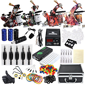 DRAGONHAWK Tattoo Machine Professional Tattoo Kit - 4 pcs Tattoo Machines, Professional Level / All in One / Easy to Setup Alloy LCD power supply Case Included