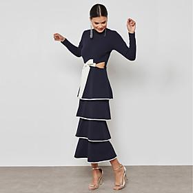 BENEVOGA Women's Sophisticated / Street chic Bodycon / Sheath Dress - Color Block Black  White / Blue  White, Bow / Layered / Ruffle 6688765