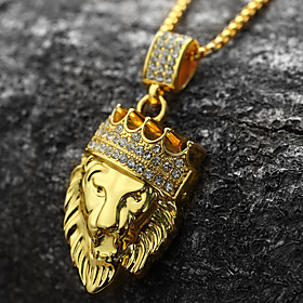 Men's Cubic Zirconia Sculpture Pendant Necklace - 18K Gold Plated, Imitation Diamond Lion, Animal, Crown Personalized, Rock, Hip-Hop Gold Necklace Jewelry 1pc