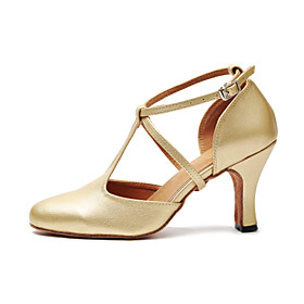 Women's Modern Shoes / Ballroom Shoes PU Heel Buckle Cuban Heel Dance Shoes Black / Gold / Practice Category:Ballroom Shoes,Modern Shoes; Upper Materials:PU; Embellishment:Buckle; Lining Material:Synthetic; Heel Type:Cuban Heel; Gender:Women's; Style:Heel; Outsole Materials:Patent Leather; Occasion:Practice,Party; Brand:Shall We; Listing Date:06/26/2018; Production mode:Self-produce; Foot Length:; Size chart date source:Provided by Supplier.; Popular Country:United States