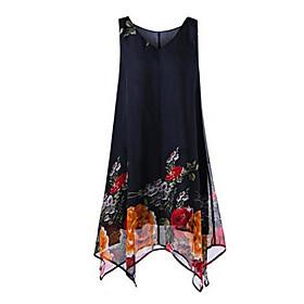 Women's Plus Size A Line / Chiffon Dress - Floral Print Asymmetrical V Neck 6752462