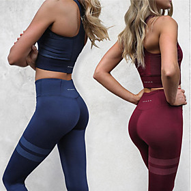 Women's Yoga Pants With Top - Black, Burgundy, Dark Navy Sports High Rise Tights / Leggings / Crop Top Running, Fitness, Gym Activewear Compression, Sweat-wick