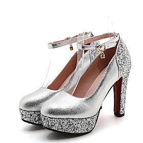 Women's Shoes PU(Polyurethane) Summer Basic Pump Heels Chunky Heel Round Toe Rhinestone Gold / Silver / Red / Wedding / Party  Evening