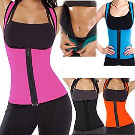 Body Shaper Sweat Waist Trainer Corset Shapewear Neoprene Zipper Compression Stretchy Weight Loss Tummy Fat Burner Abdominal Toning Yoga Exercise  Fitness Gym