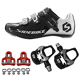 SIDEBIKE Adults' Cycling Shoes With Pedals  Cleats Road Bike Shoes Carbon Fiber Cushioning Cycling Black Men's Cycling Shoes / Breathable Mesh