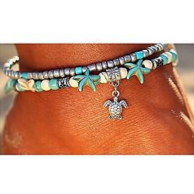 Turquoise Layered Ankle Bracelet - Turtle, Starfish Bohemian, Ethnic, Fashion Silver For Going out Beach Bikini Women's