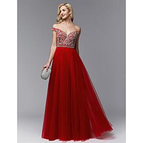 326b970ab01e Linea-A Spacco a V Lungo Tulle Brillante e glitterato Graduazione   Serata  formale Vestito