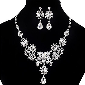 Women's Cubic Zirconia Bib Jewelry Set - Cubic Zirconia, Imitation Diamond Drop Statement, Party, Double-layer Include Pendant Necklace Earrings Bib necklace W