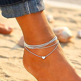 Layered Ankle Bracelet - Heart Korean, Fashion Silver For Daily Going out Women's