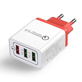 Home Charger / Portable Charger USB Charger EU Plug QC 3.0 3 USB Ports 4.8 A 100~240 V for Universal