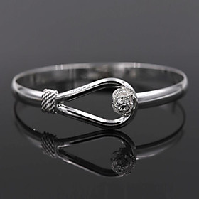 Women's Bracelet Bangles Sterling Silver Flower Ladies Bracelet Jewelry Silver For Wedding Party Daily Casual