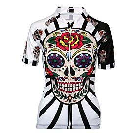 Malciklo Women's Cycling Jersey - Black / Red / White Skull Plus Size Bike Jersey Breathable Quick Dry Anatomic Design Sports Skull Mountain Bike MTB Road Bike
