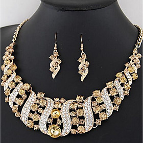 Women's Jewelry Set Rhinestone Ladies, Stylish, Luxury, Classic Include Drop Earrings Collar Necklace Rainbow / Red / Champagne For Wedding Party