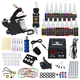 DRAGONHAWK Tattoo Machine Starter Kit - 1 pcs Tattoo Machines with 155 ml tattoo inks, All in One, Safety, Easy to Setup Alloy LCD power supply Case Not Includ