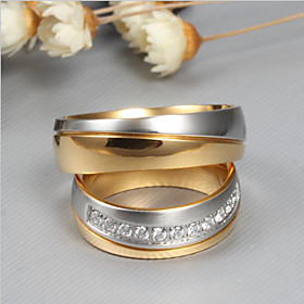 Couple's AAA Cubic Zirconia Couple Rings - Fashion, Elegant 6 / 7 / 8 / 9 / 10 Gold For Wedding Engagement Ceremony / 2pcs