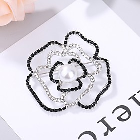 Women's AAA Cubic Zirconia Hollow Out Brooches - Elegant Brooch Black For We..
